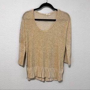 Anthropologie Moth Tan Linen Blend Sweater